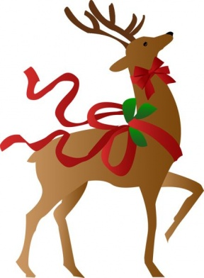 Reindeer Side Profile Open Mouth Clipart.