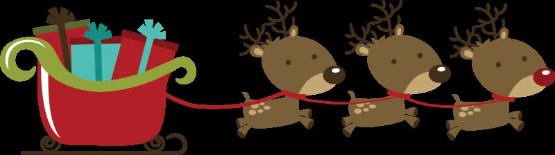 Reindeer pulling santas sleigh clipart.