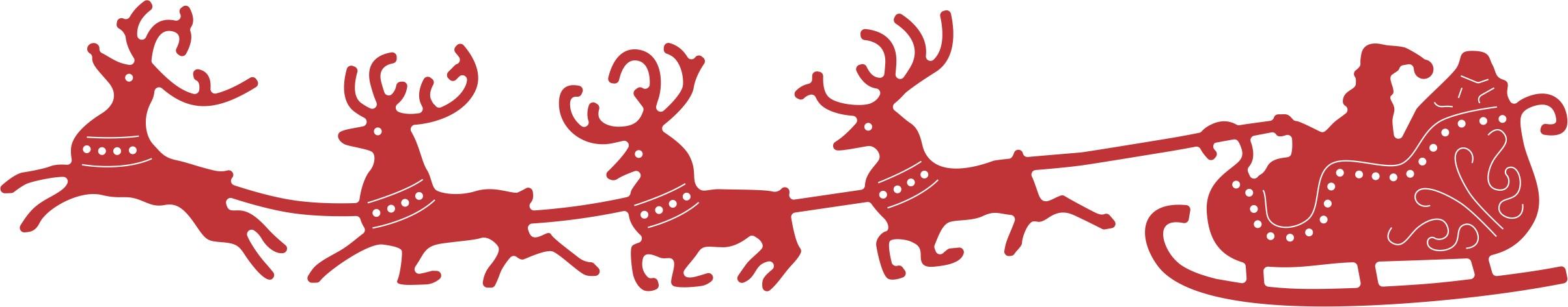 Christmas Reindeer Sleigh Clipart.
