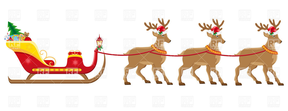 Santa Sleigh And Reindeer Clipart.