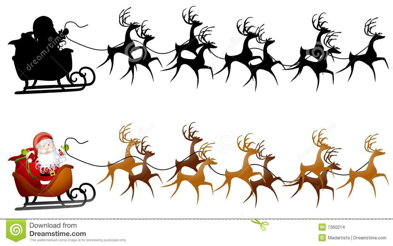 Santa Sleigh And Reindeer Clipart.