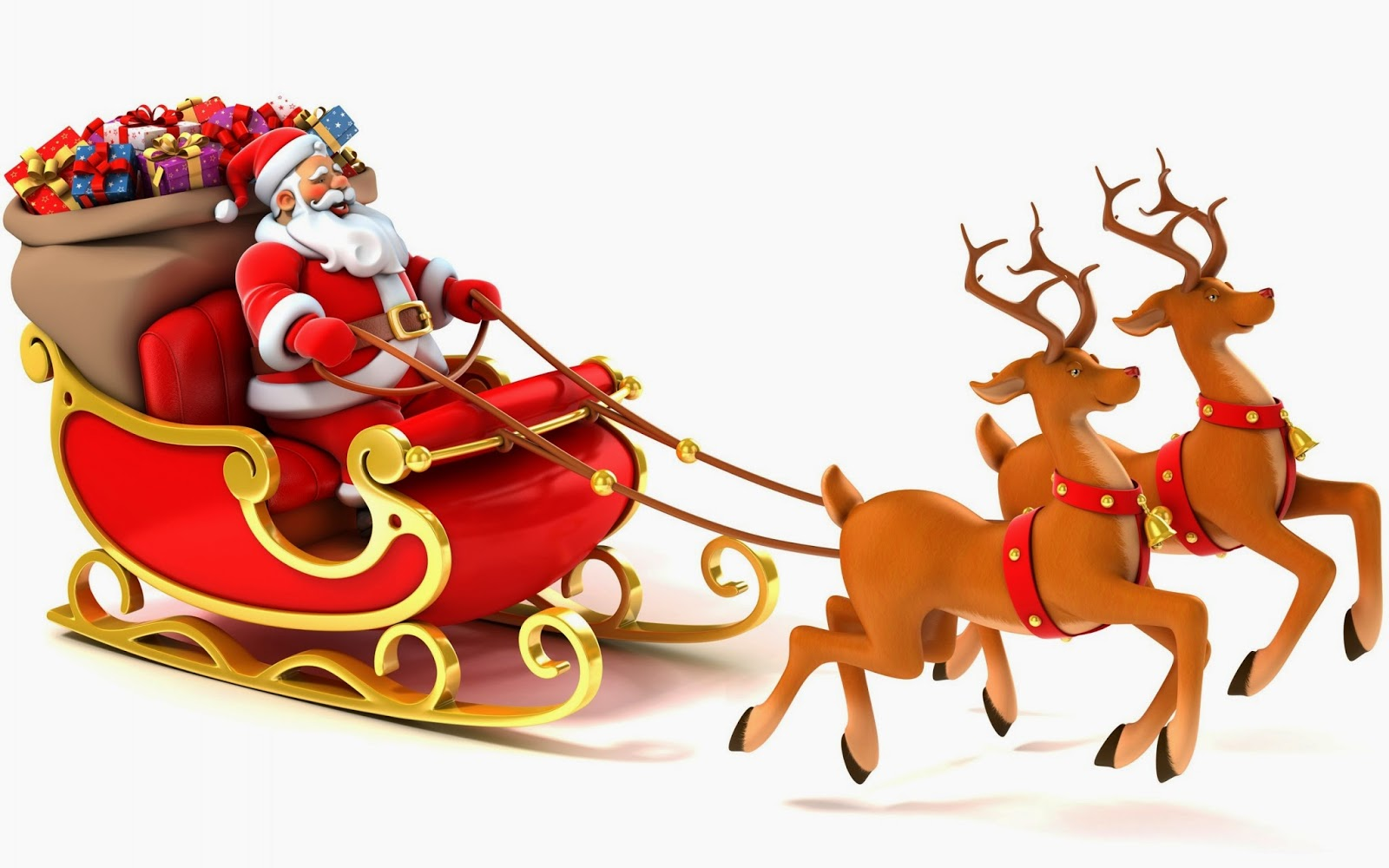 Santa and reindeer sleigh clipart.