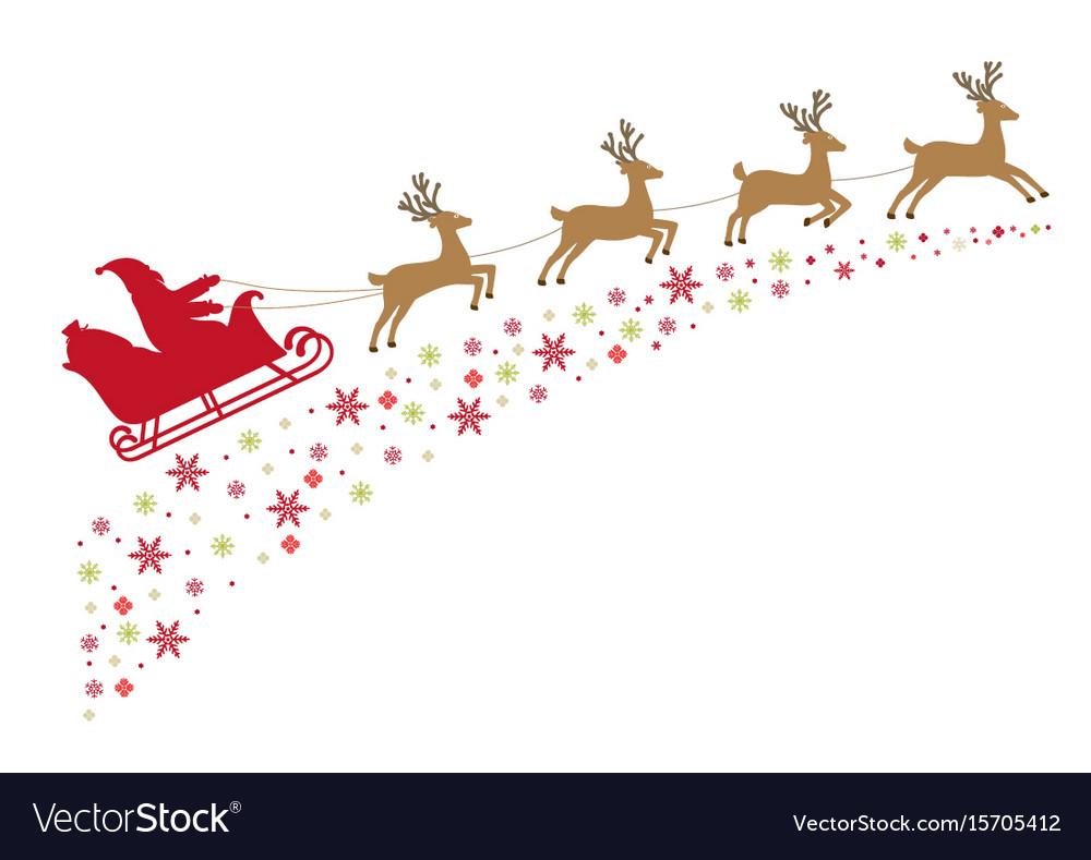 Santa on a sleigh with reindeer.