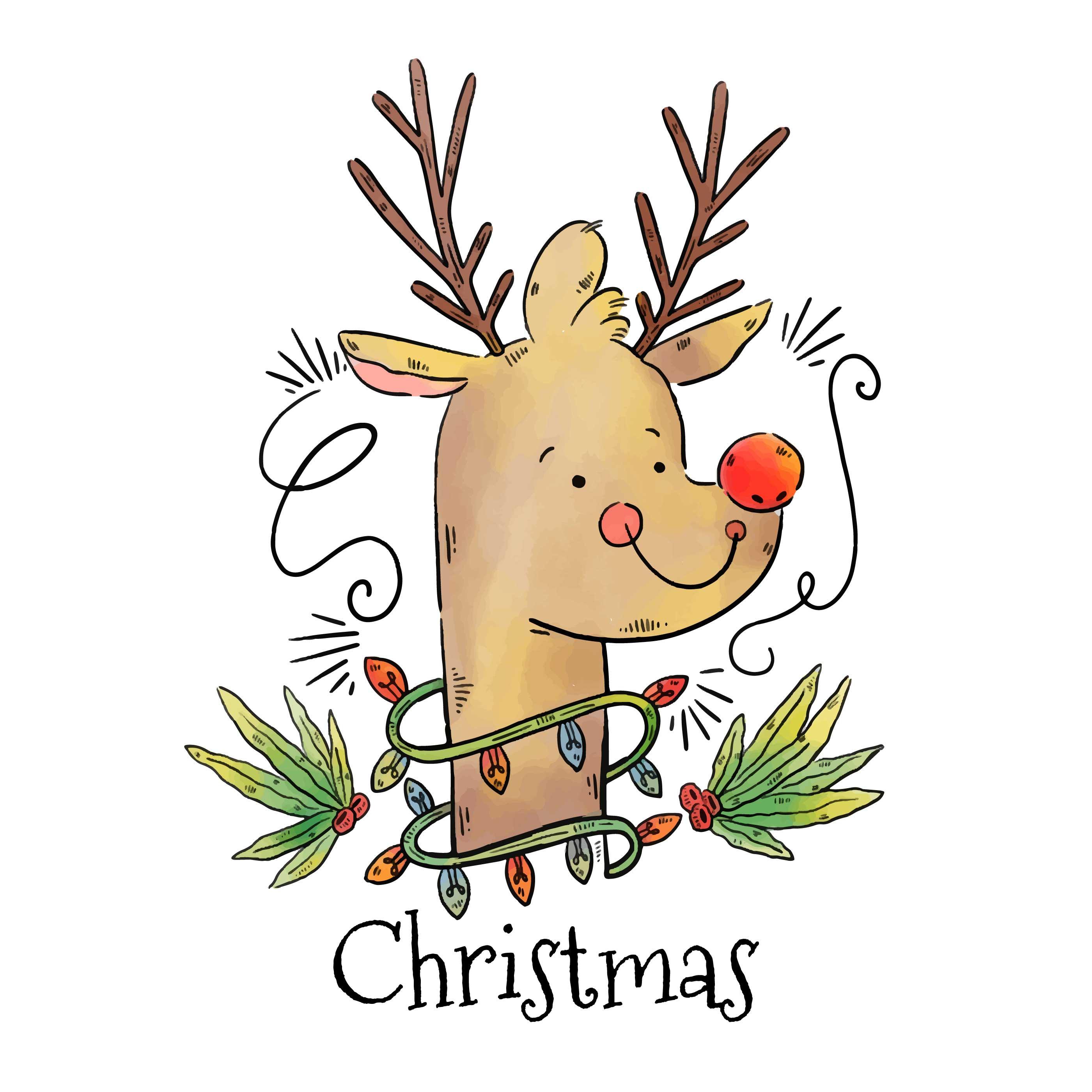 Rudolph Reindeer Free Vector Art.