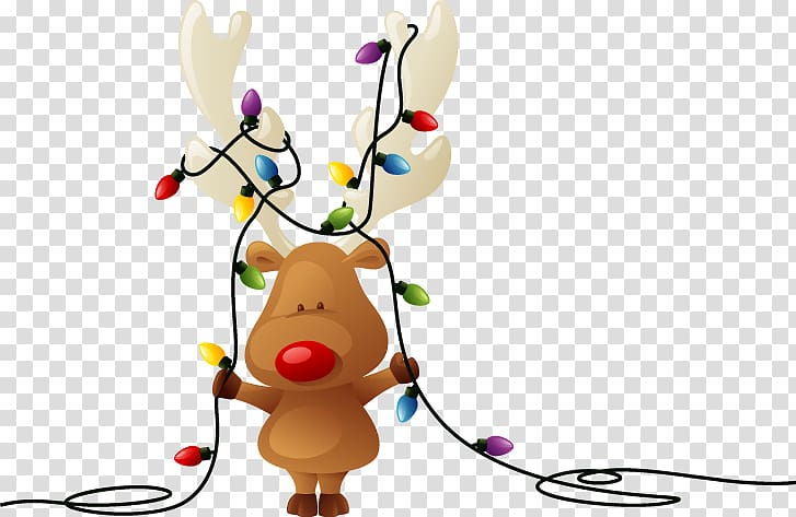 Moose holding string lights , Rudolph Reindeer Santa Claus.