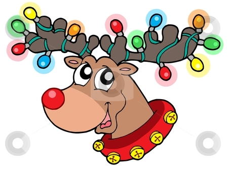 Cute reindeer in Christmas lights stock vector.
