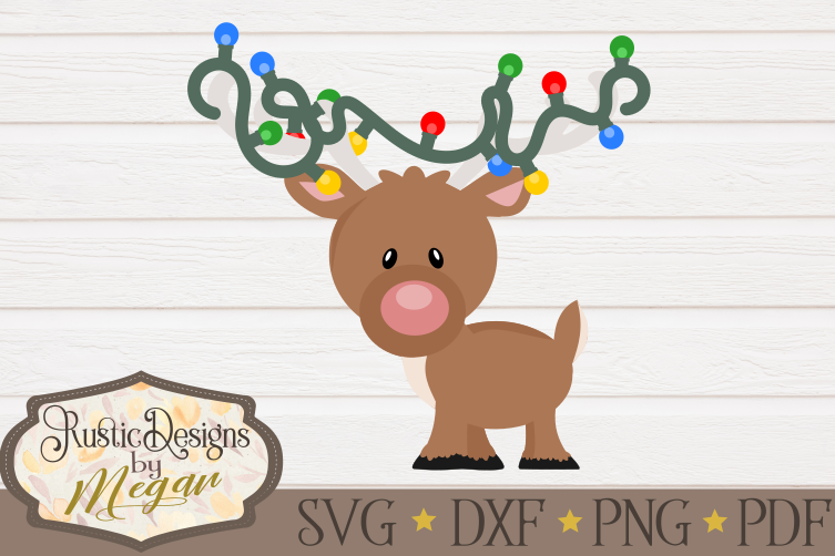 Christmas Reindeer with Lights SVG cut file Clipart.