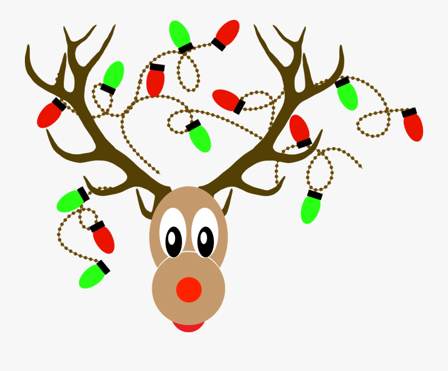 Deer Horn With Christmas Light Vector Clipart , Png.