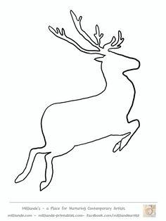 Free Reindeer Clipart , Reindeer Silhouette Template at www.