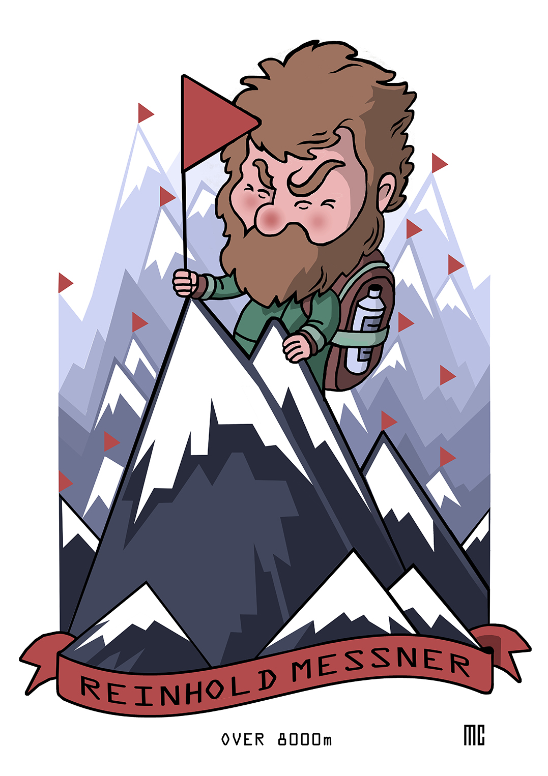 Reinhold Messner Alpi First Man Mountaintop Illustration.