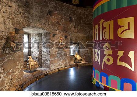 "Stock Photography of ""Room with a Tibetan prayer wheel and Buddha."