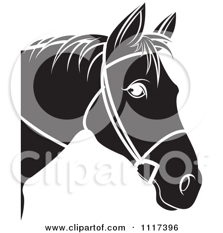 Clipart Of A Black And White Horse Head With Reins 2.