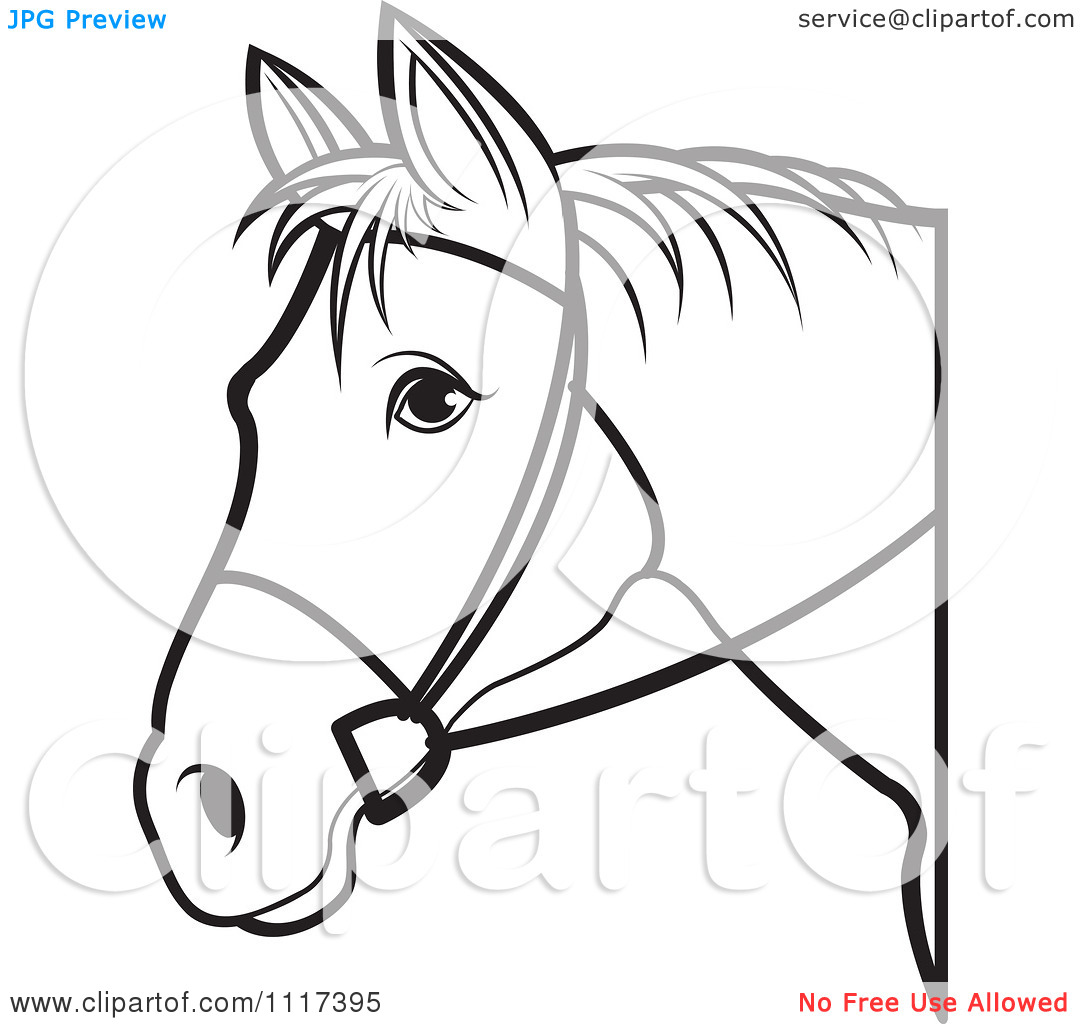 Clipart Of A Black And White Horse Head With Reins 1.