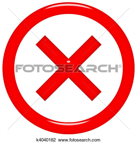 Clip Art of 3d rejected or rated X sign k4040162.
