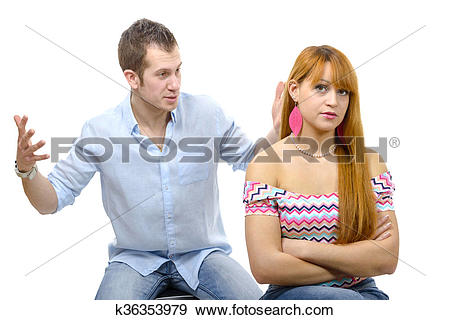 Stock Photograph of couple have an argument because of.