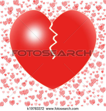 Clip Art of Broken Heart Means Couple Trouble Or Relationship.