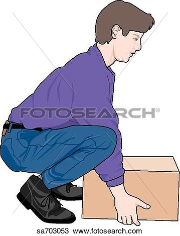 Clip Art of Adult male demonstrating proper lifting technique.