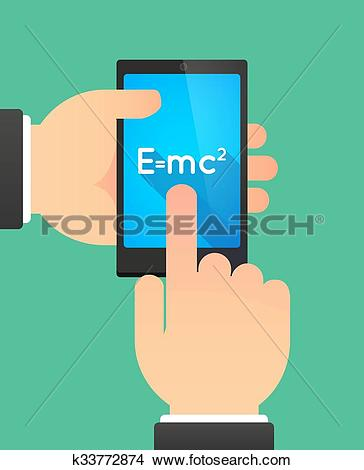 Clipart of Hands using a phone showing the Theory of Relativity.