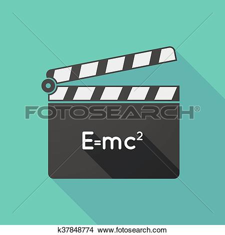 Clipart of Long shadow clapperboard with the Theory of Relativity.