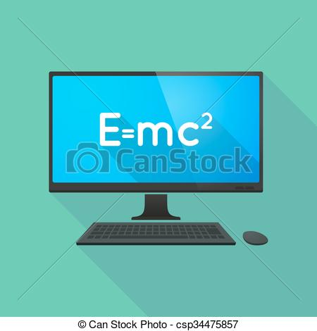 Clipart Vector of Personal computer with the Theory of Relativity.