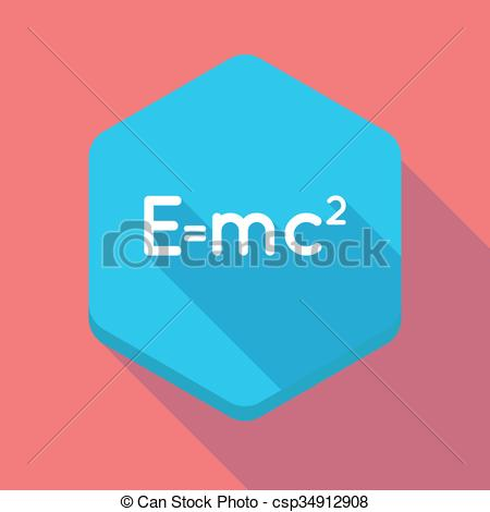 Vector Clipart of Long shadow hexagon icon with the Theory of.