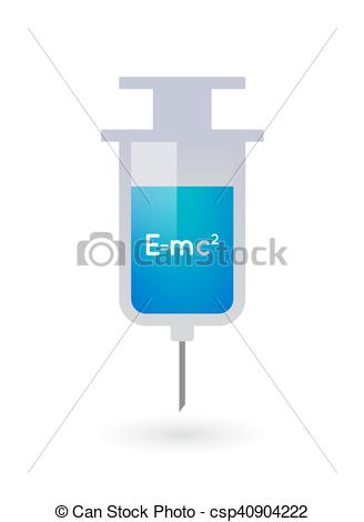 Vector Illustration of Isolated syringe with the Theory of.