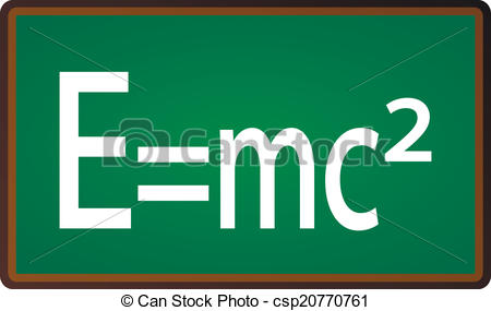 Clip Art Vector of Theory of Relativity Chalkboard on white.