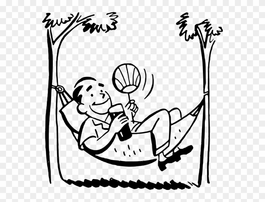 Relaxing Cartoon Black And White Clipart (#1031084).