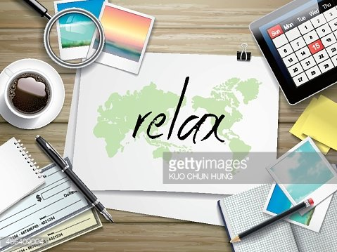relax word written on paper Clipart Image.