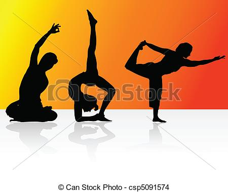 EPS Vector of relaxation with yoga vector silhouettes csp5091574.