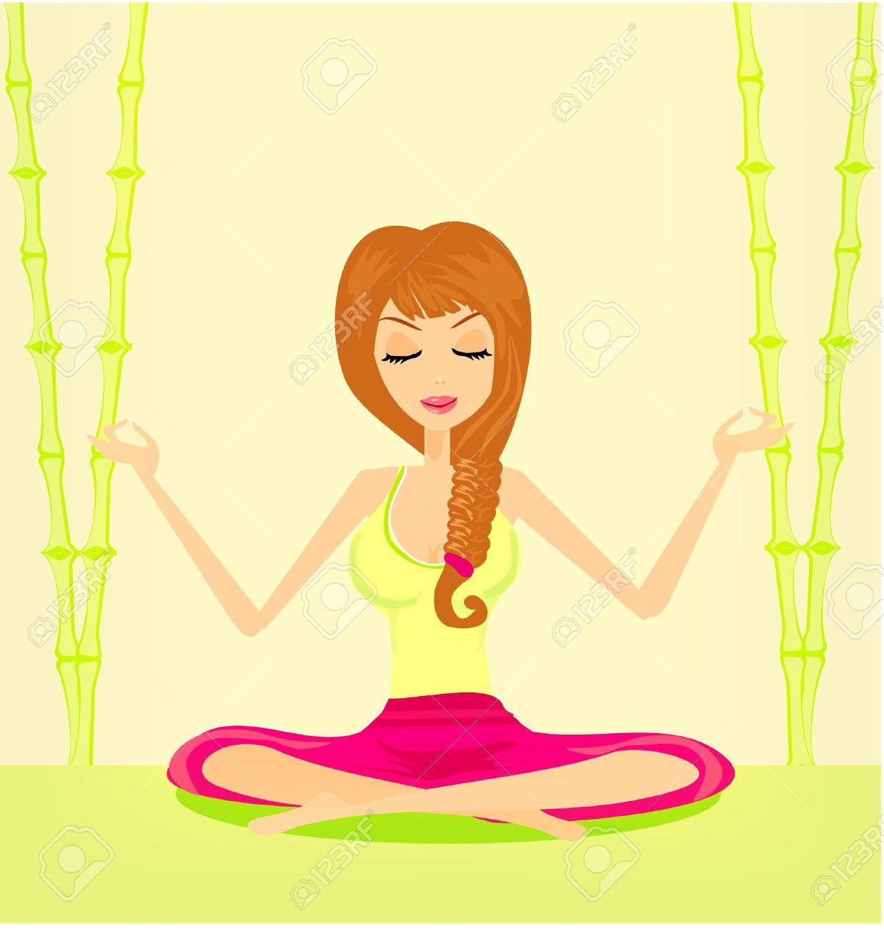Girl relaxing clipart.