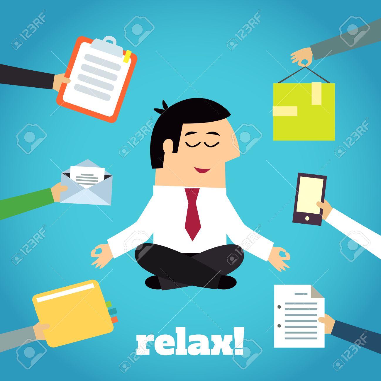 Businessman Practicing Yoga Cross Legged Lotus Asana Relaxation.