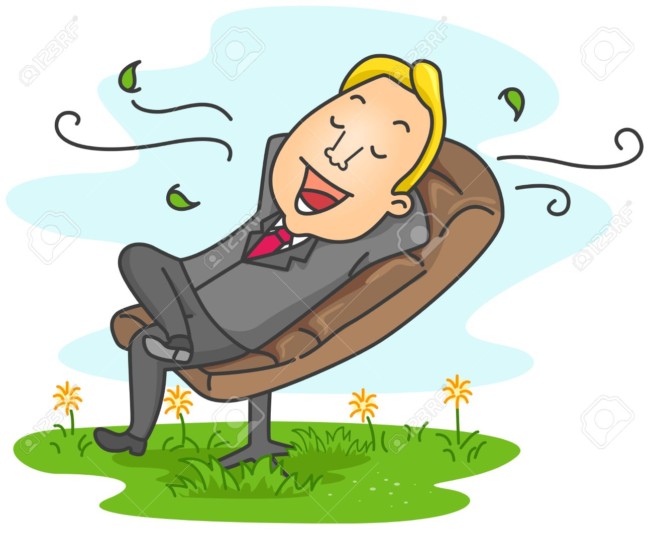 Illustration Of A Businessman Relaxed At His Office Stock Photo.