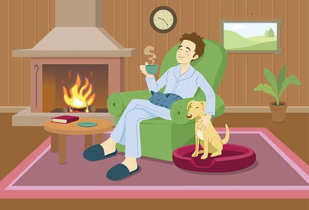 Man relaxing at home Clipart Image.