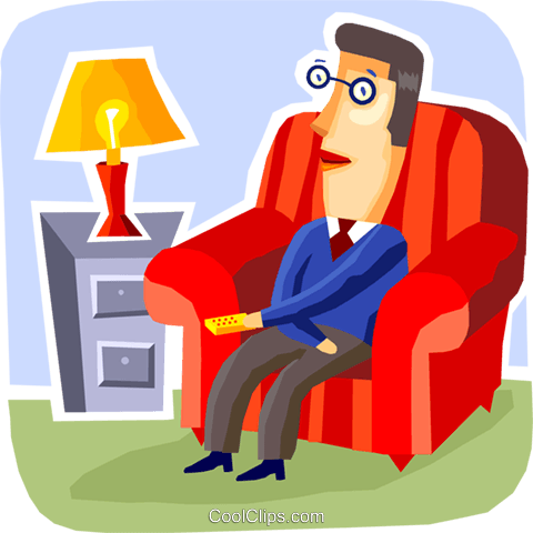 Relaxing at Home or Cottage Royalty Free Vector Clip Art.