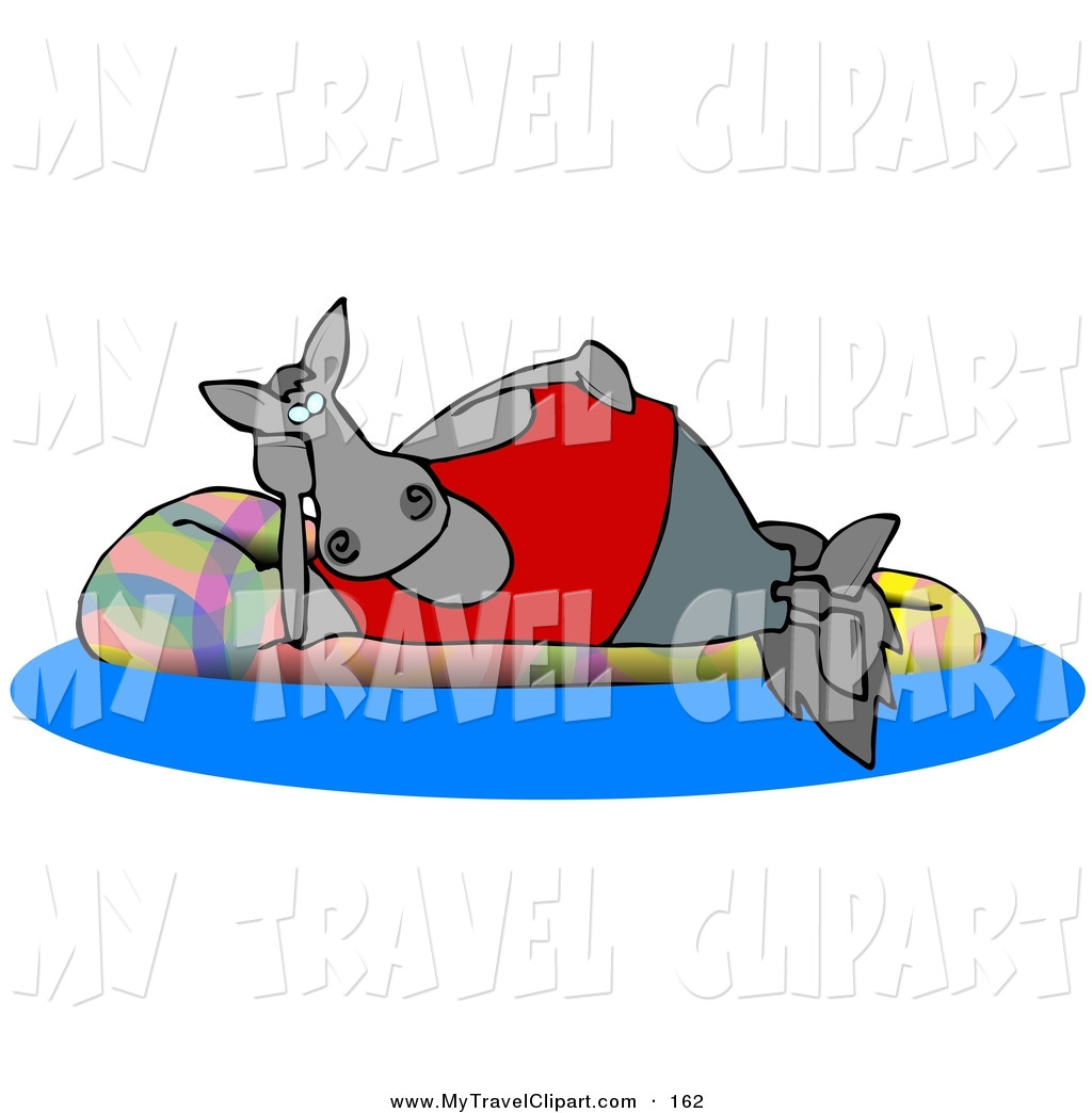Clipart of a Happy Horse Relaxing on a Floatie in a Swimming.
