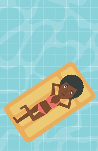 Woman relaxing in swimming pool. Clipart Image.