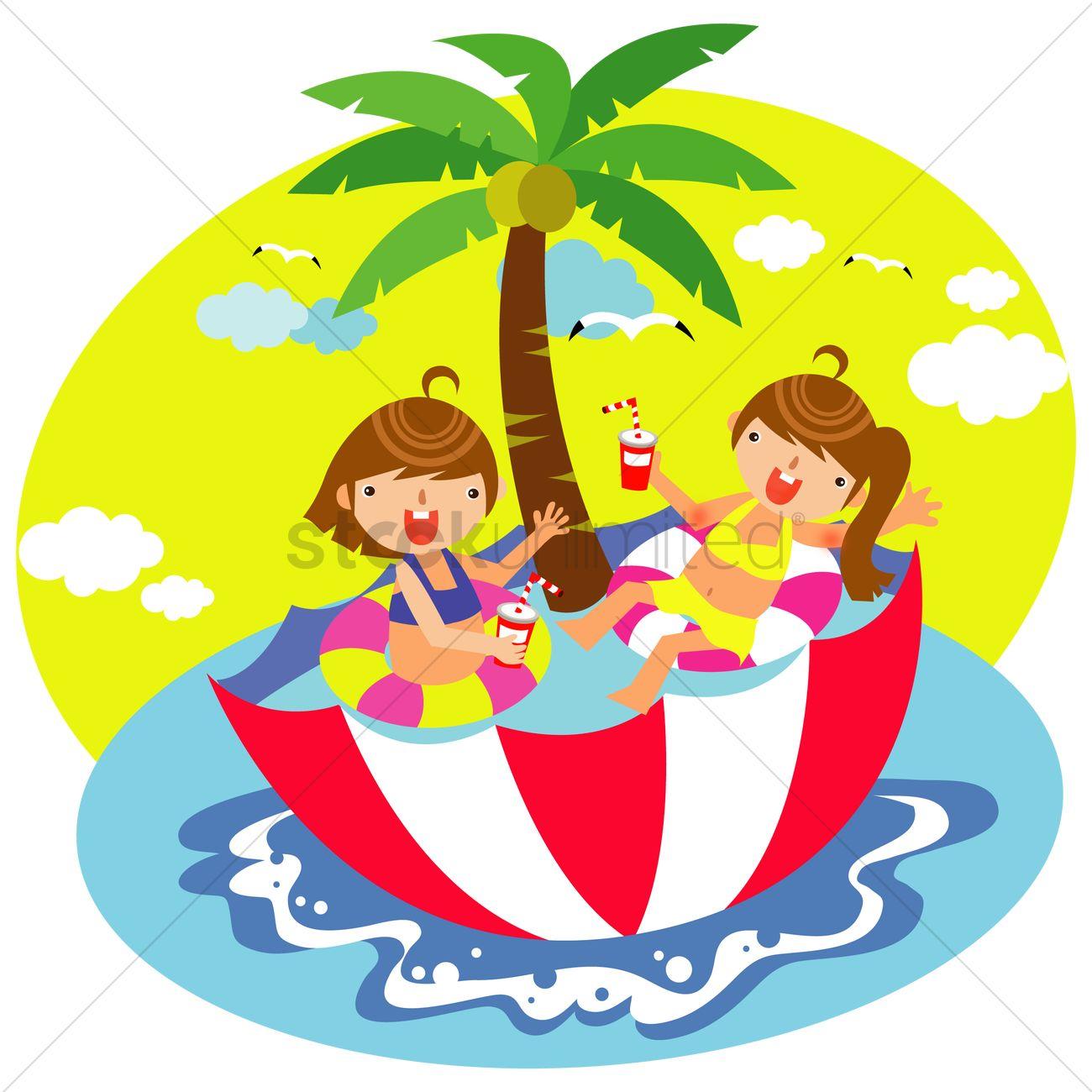 Children relaxing in the umbrella swimming pool Vector Image.