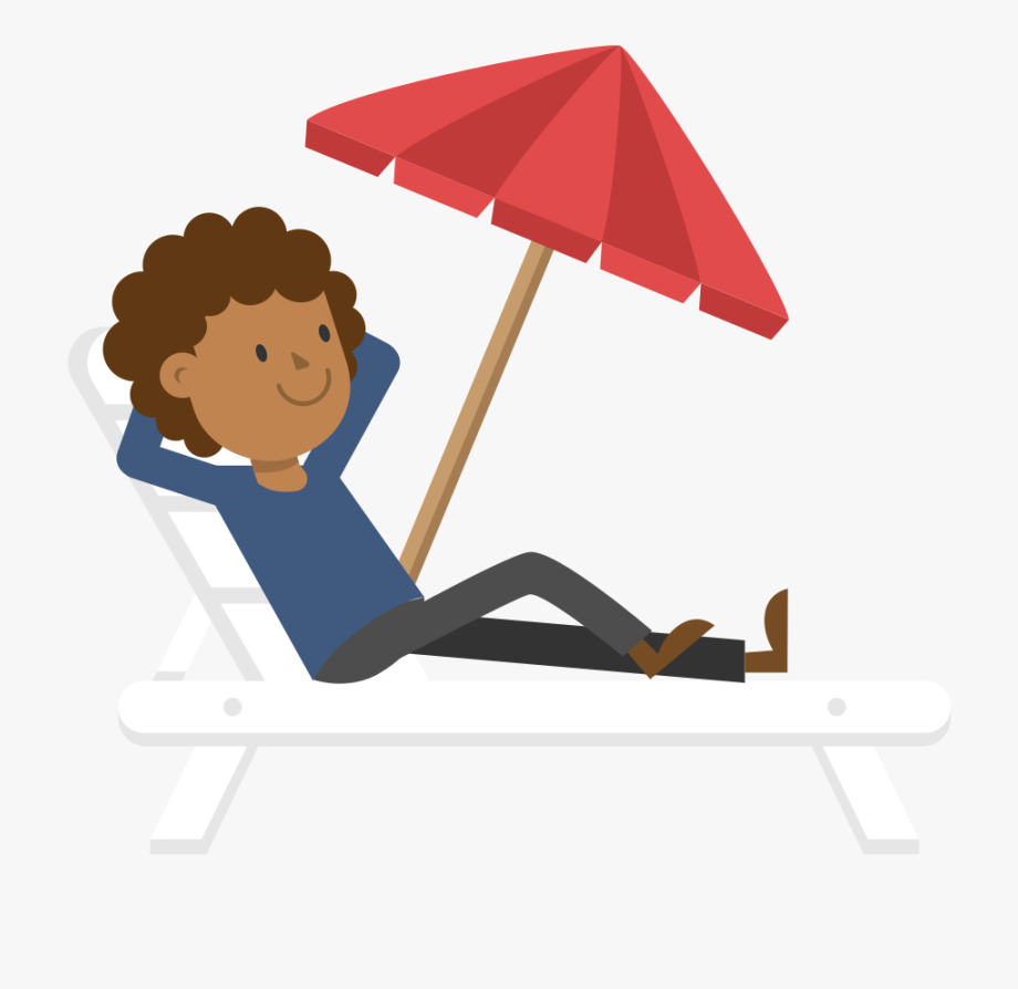 Black Man Relaxing On The Beach Cartoon Vector.