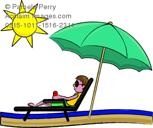 Clip Art Image of a Sunburned Young Man Relaxing on the Beach.