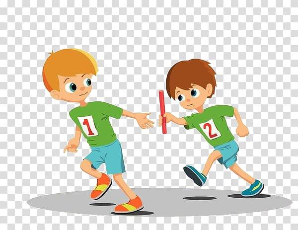 Two running men illustration, Relay race , Boys relay race.