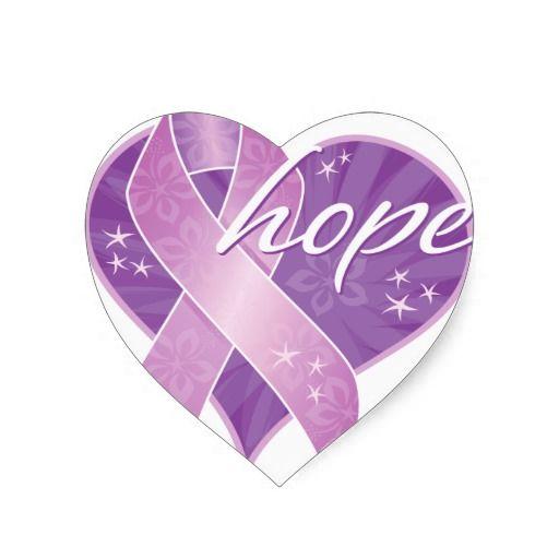purple ribbon hope heart sticker.
