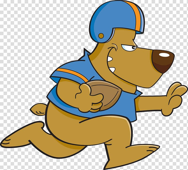 Dog Cartoon American football, Puppy relay race transparent.