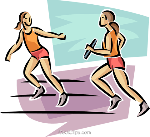 relay runners Royalty Free Vector Clip Art illustration.