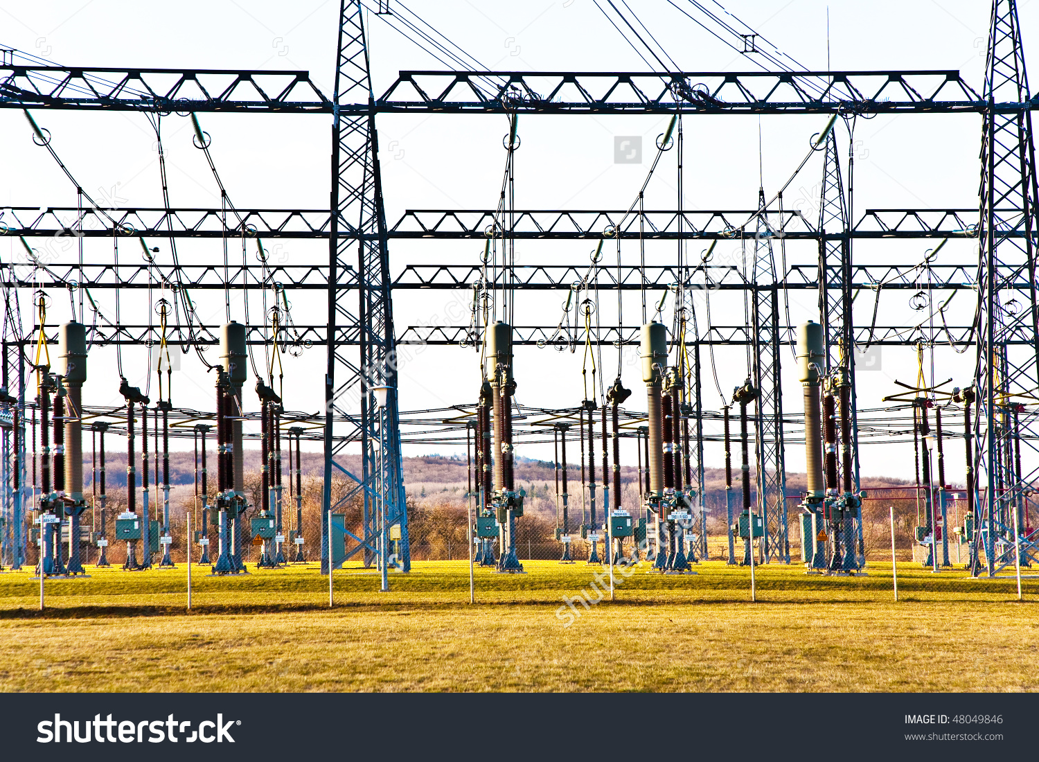 Electricity Relay Station Highvoltage Insulator Power Stock Photo.