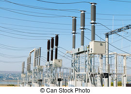 Stock Photography of electricity relay station with high.