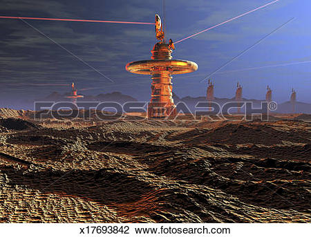 Stock Photo of Foreign planet satellite data link relay station.