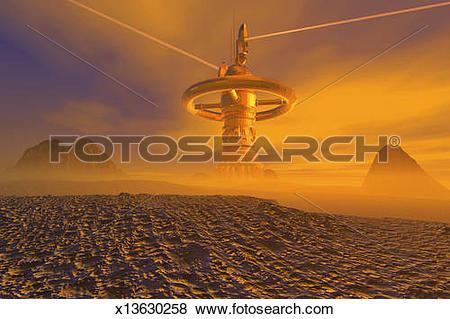Pictures of Foreign planet satellite data link relay station.