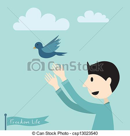 EPS Vector of human to release of bird fly, freedom concept.