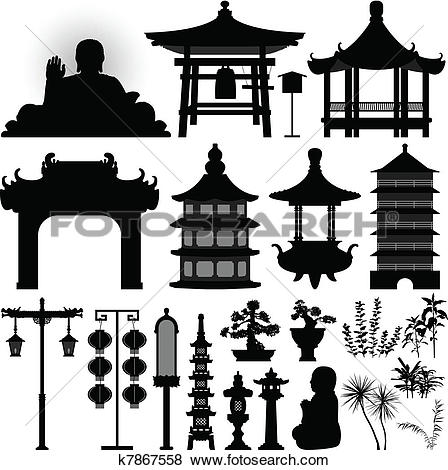 Clip Art of Chinese Asian Temple Shrine Relic k7867558.
